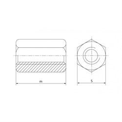 Гайка-втулка DIN 6334 Шестигранная удлиненная (кг) - фото 6359