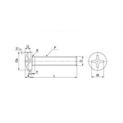 Винт DIN 7985 С линзообразной цилиндрической головкой А2 - фото 6405